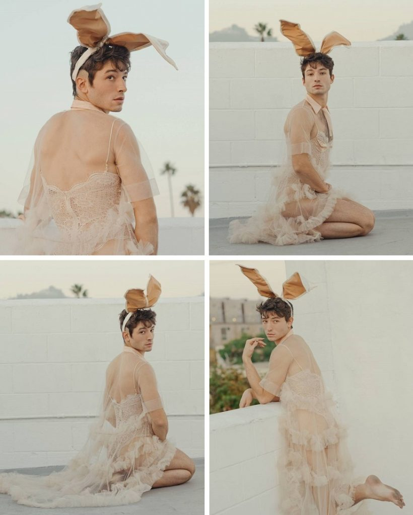 Sobre poses e pensamentos: as fotos de Ezra Miller para a Playboy